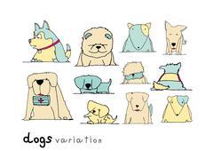 Dogs variation doodle pastel color on white background Stock Illustration