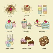 Bakery doodle pastel color scheme - stock illustration