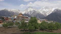 View of Village and Kailash mountains,Kalpa,Kinnaur,India Stock Footage