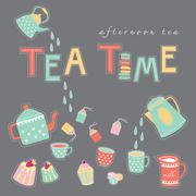 Tea time doodle illustration pastel color vector on dark grey background - stock illustration