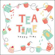 Tea time happy time doodle illustration pastel color vector - stock illustration