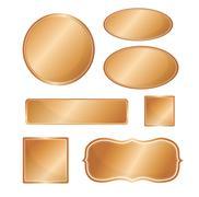 Blank metallic icon set copper Stock Illustration