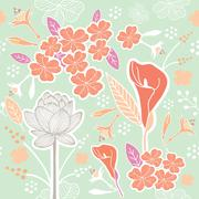Flower or Floral and leaf pattern seamless pastel green - stock illustration