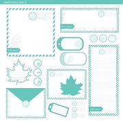 Stationery set 2 green leaf - stock illustration