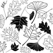 autumn leaf hand drawn doodle illustration - stock illustration