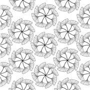 black gingko leaf circle sketch doodle pattern - stock illustration