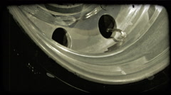 Truck tire rims roll. Vintage stylized video clip. Stock Footage