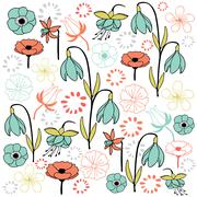 leaf & flower set 4 pastel color - stock illustration