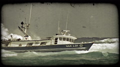 Shipwrecked boat gets wave. Vintage stylized video clip. Stock Footage