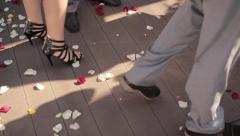 Steps on Rose leafs, wooden floor Stock Footage