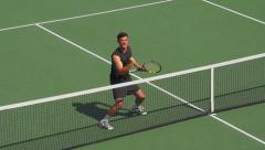 Tennis Player Volleys at eh net and Celebrates. Stock Footage