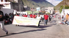 Teacher of Sagrado Corazon marching for 100th anniversary of institution - stock footage