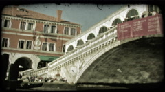 Venice Bridge 2. Vintage stylized video clip. Stock Footage