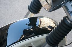 Front fender of motorcycle closeup - stock photo