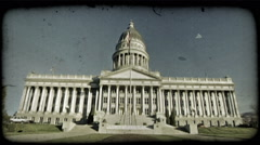 SLC Capitol Building 3. Vintage stylized video clip. - stock footage