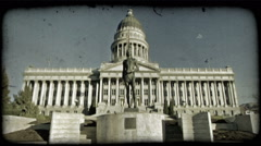 SLC Capitol Building 4. Vintage stylized video clip. Stock Footage