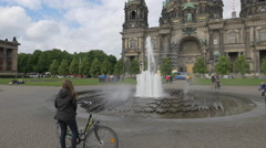 Fountain in front of Berlin Cathedral Church Stock Footage