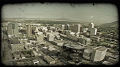 Aerial over downtown. Vintage stylized video clip. Stock Footage