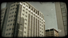 City buildings. Vintage stylized video clip. Stock Footage