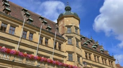 Town hall on Marktplatz square, Rothenburg ob der Tauber, Germany Stock Footage
