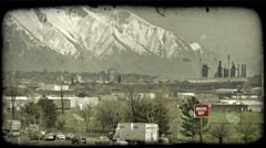 Highways and mountains. Vintage stylized video clip. Stock Footage