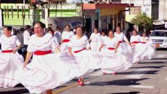 Old generation of students dancing for Sagrado Corazon 100th anniversary 4k slow - stock footage