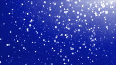 Flying particles 9 - Floating Stars in space, snowflakes - blue Background Stock Footage