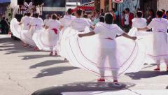 Stock Video Footage of Old generation of students dancing for Sagrado Corazon 100th anniversary 4k slow