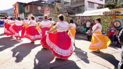 Old generation of students dancing for Sagrado Corazon 100th anniversary 4k slow Stock Footage