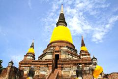Old Temple Architecture , Wat Yai Chai Mongkol at Ayutthaya, Thailand. - stock photo