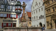 Half-tombered House, Marien-Apotheke, Rothenburg ob der Tauber, Germany Stock Footage