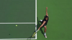 Tennis Player Great Backhand at the Baseline. - stock footage