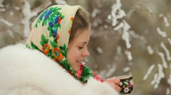 Girl Drinks Tea On A Cold Stock Footage