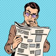 man reads a news paper - stock illustration