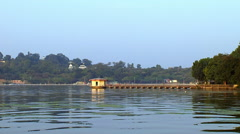 A view of Fateh Sagar Lake in Udaipur, India Stock Footage