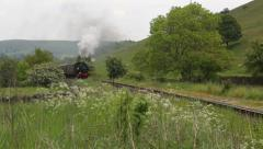 Long shot of steam train going through English countryside left to right Arkistovideo