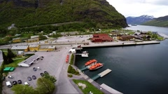 NORWAY - Flaam pier museum train station hotel Stock Footage