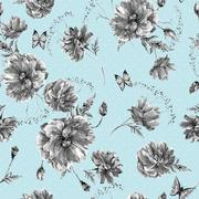 Vintage monochrome watercolor seamless pattern with wildflowers, poppies daisies - stock illustration