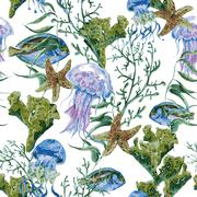 Summer Vintage Watercolor Sea Life Seamless Pattern on white background Stock Illustration
