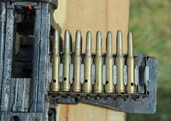 Army machine gun with ammunition Stock Photos