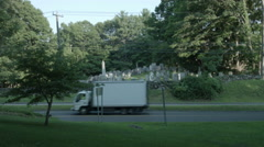 Graveyard in Connecticut, tombstones on hill in country Stock Footage