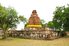 Old Temple Architecture at Wat Maheyong, Ayutthaya, Thailand. Stock Photos