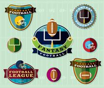 American Fantasy Football Emblems Set Illustration - stock illustration