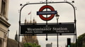 Westminster station sign, London Footage