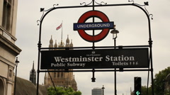 Westminster station sign, London - stock footage