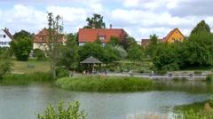 City Park in Dinkelsbuhl, Germany Stock Footage