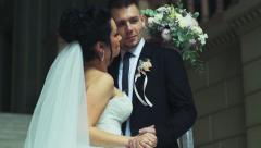 Groom taking his brides hand slow motion Stock Footage