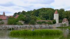 City Wall and Watch Tower, Dinkelsbuhl, Germany Stock Footage