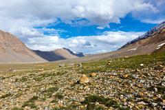 Spiti Valley in Himalayas. Himachal Pradesh, India - stock photo