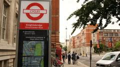 Bike sharing in Knightsbridge, London Stock Footage